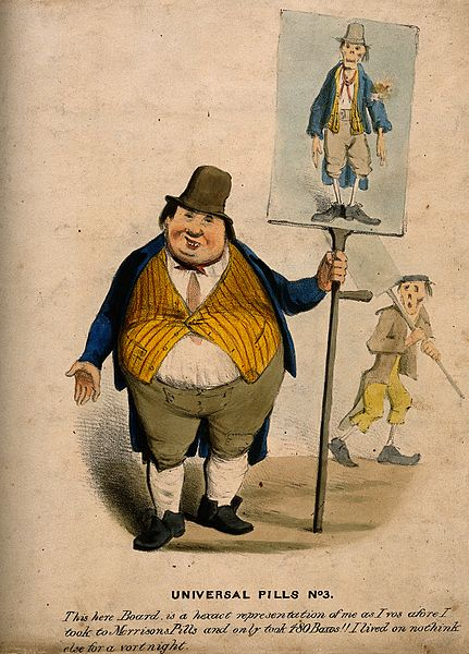 An obese man exhibiting a placard