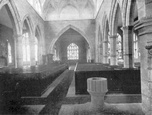 One of several views of the interior of Acton church taken before the 1893-98 Restoration