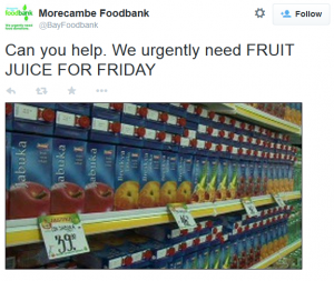 Food Bank request for fruit juice