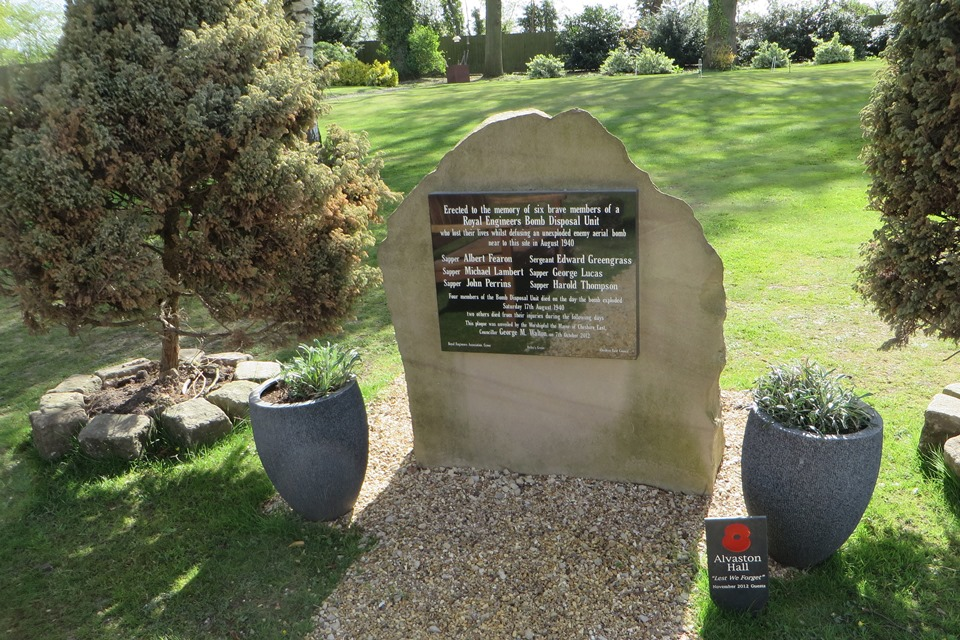 Memorial to the Royal Engineers Bomb Disposal Unit at Alvaston