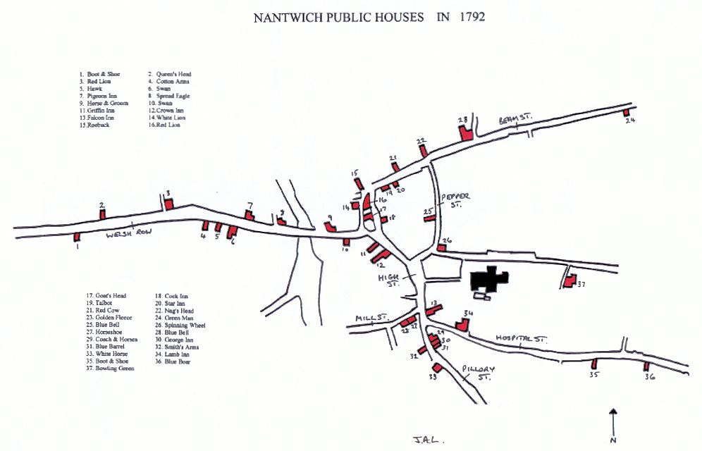 Map of Nantwich Pubs in 1792