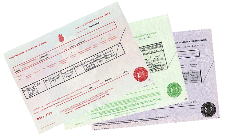 Births Marriage and Death Certificates