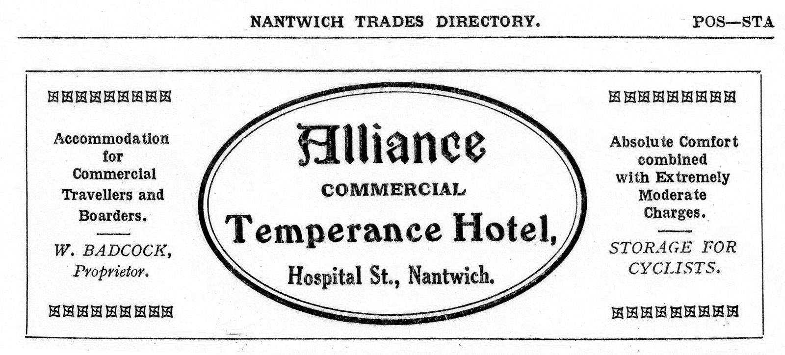 Alliance Temperance Hotel Advert 1913
