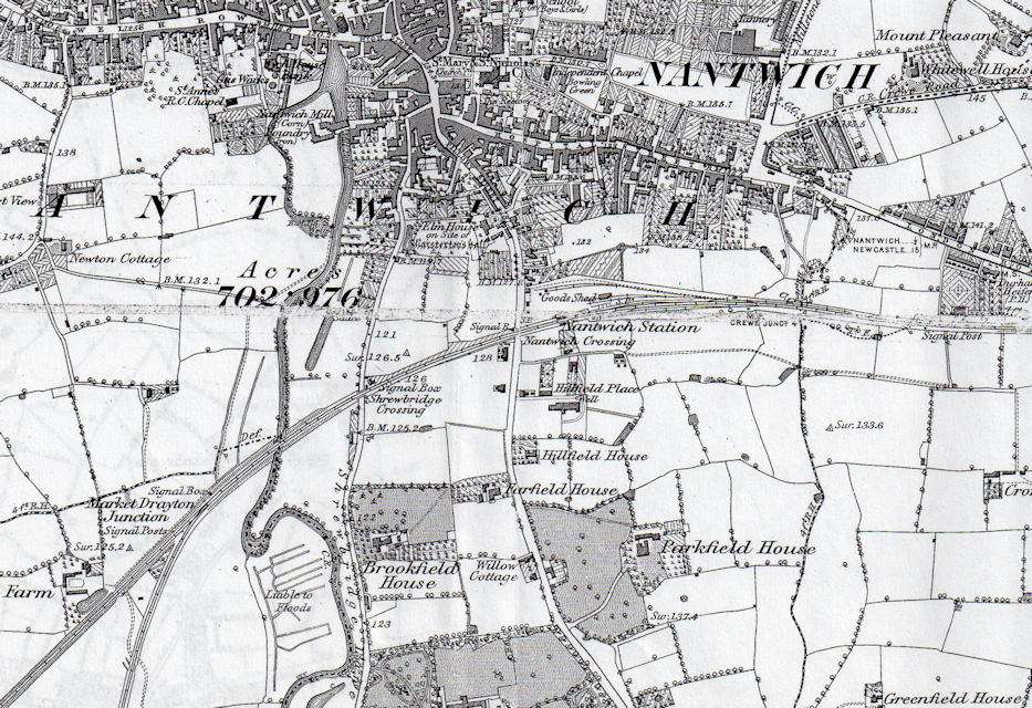1875 map of Nantwich station