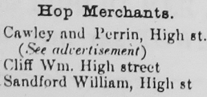 Hop Merchants in Nantwich 1874