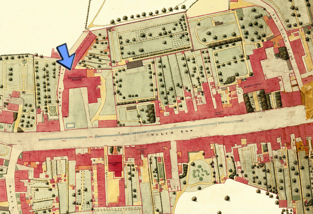 Map showing Townsend Brewery in 1851