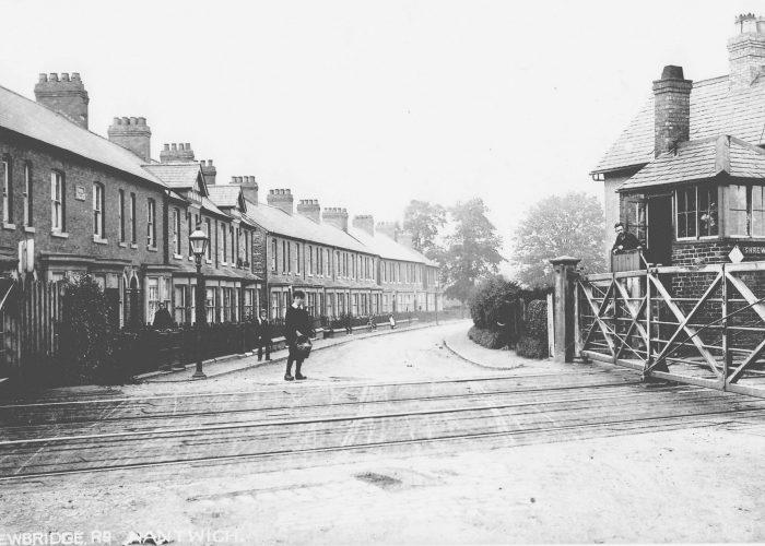 Shrewbridge Road railway crossing in Nantwich, Cheshire