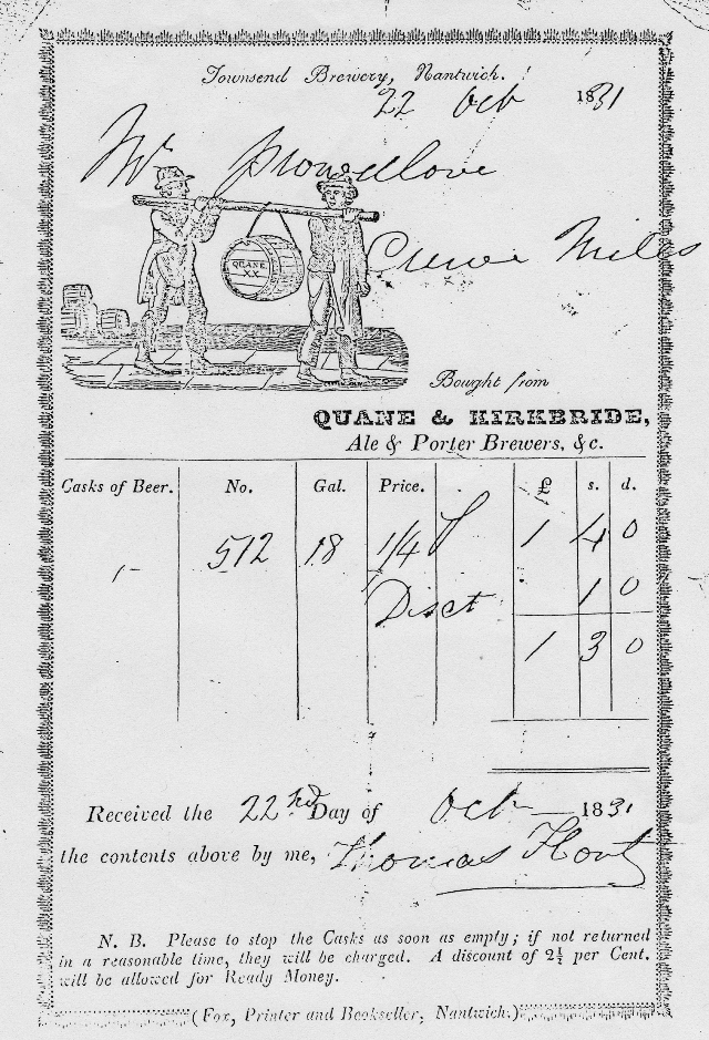 Townsend Brewery Invoice 1831