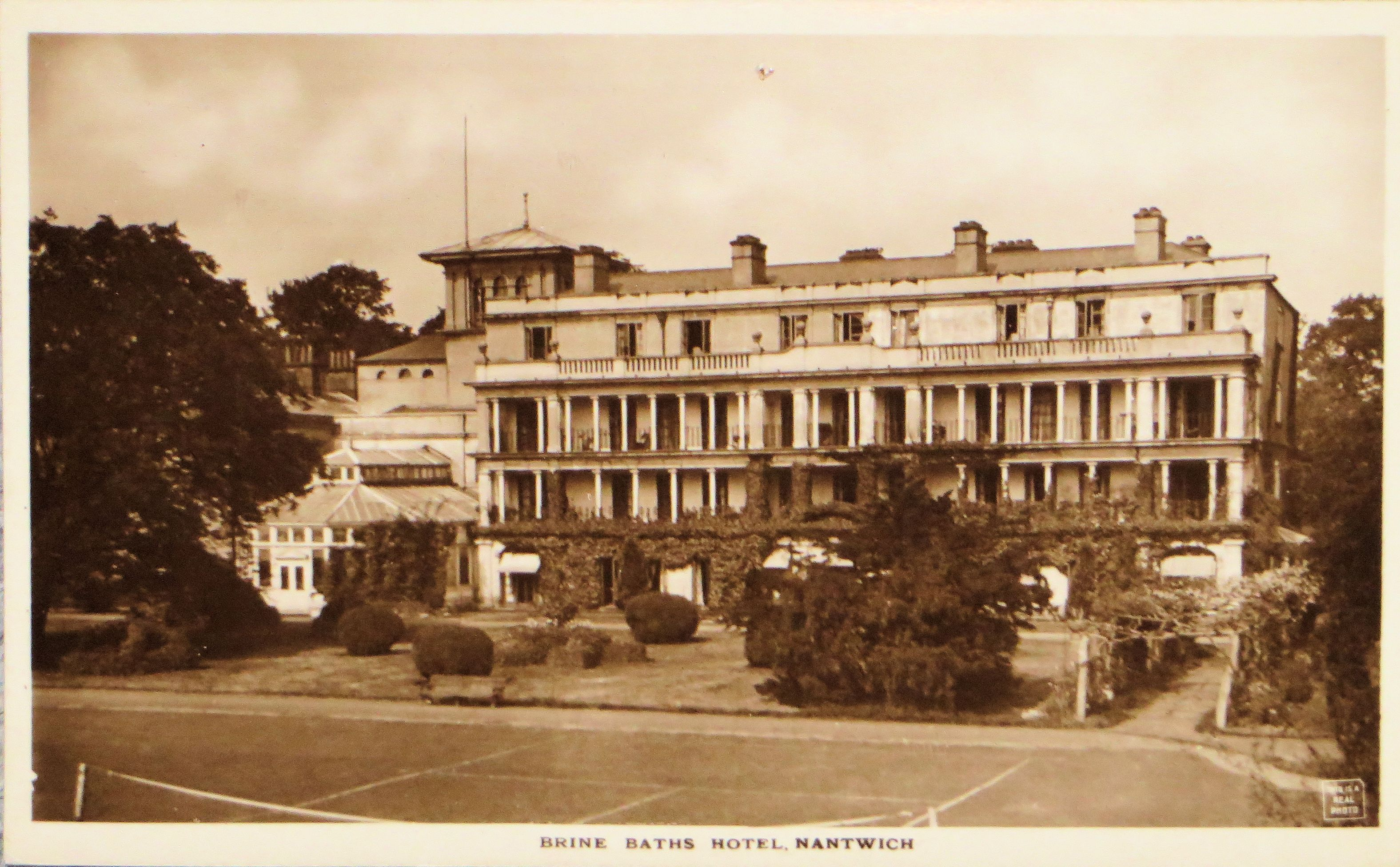 Old postcard of Brine Baths Hotel