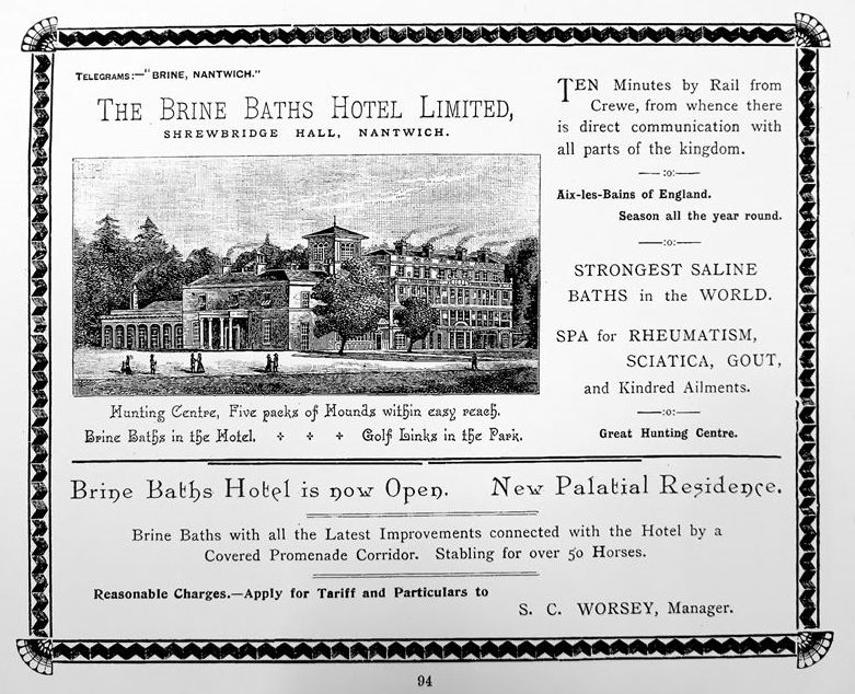 Advert for the Brine Baths Hotel 1896