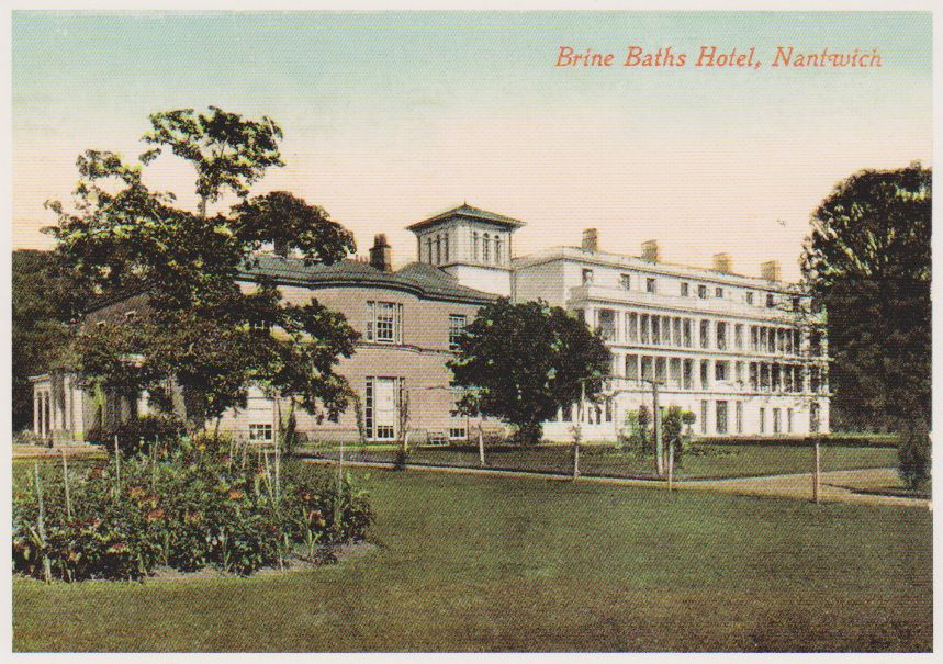 Old postcard of the Brine Baths Hotel
