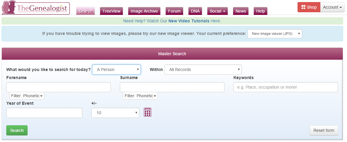 Screenshot of The Genealogist person search page