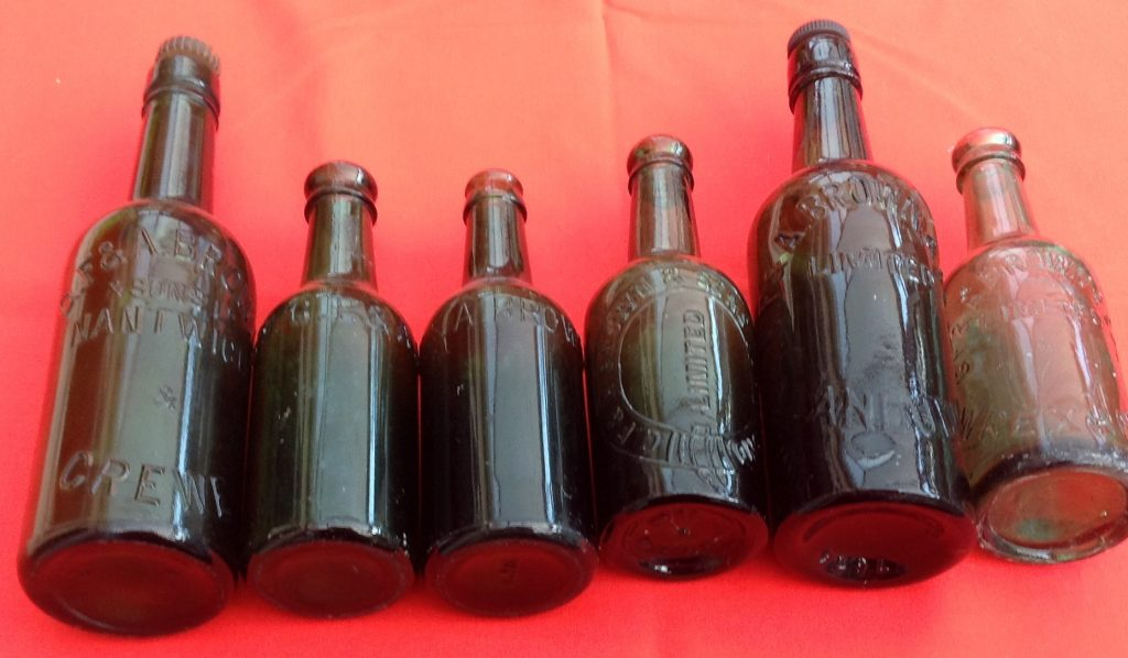 G F and A Brown bottles